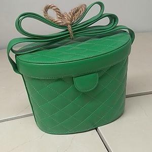 Bloomingdale's Green Vinyl Quilted Crossbody Bag